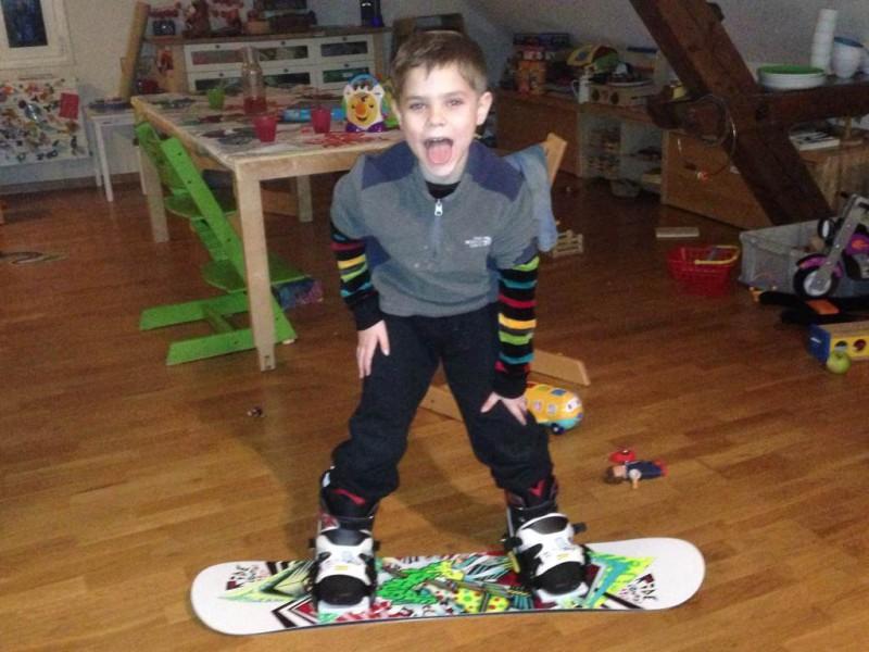 Keagan's snowboard